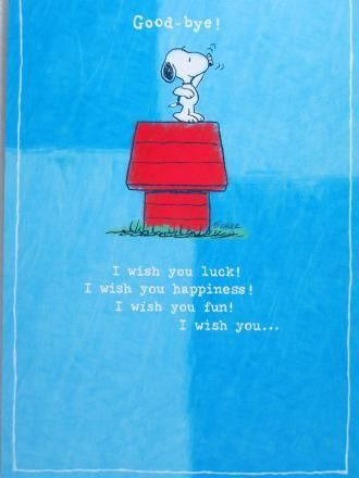Good-Bye Card | Cards, I wish you happiness, Snoopy store