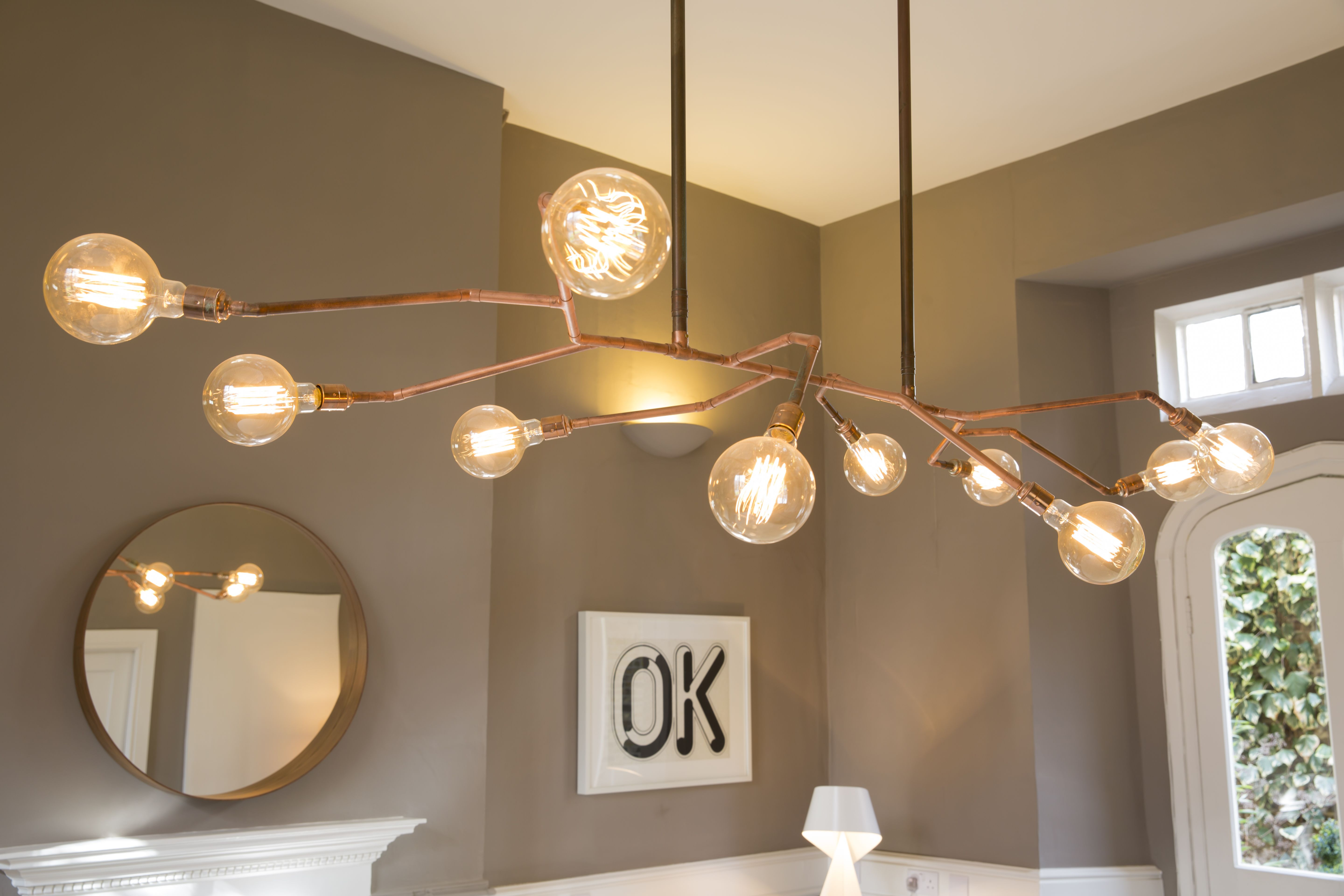 Close Up Of Our Copper Tube Chandelier We Made For Manasian And Co S Meeting Room Chandelier Ceiling Lights Copper Tubing