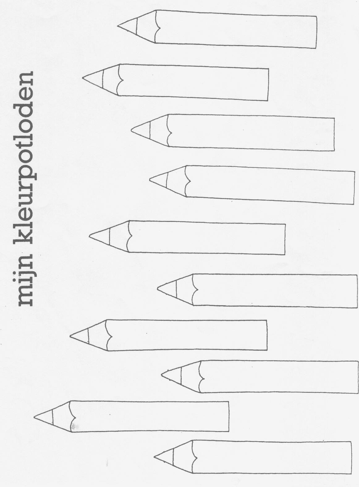 kleur de potloden thema terug naar school