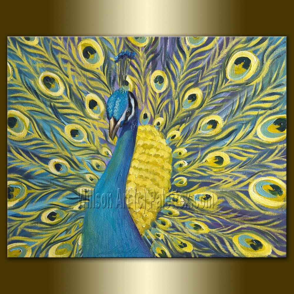 Peacock Oil Painting Original Modern Animal Art By Willson Lau