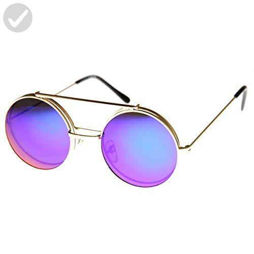 8078b683be839 zeroUV - Limited Edition Mirror Flip-Up Lens Round Circle Django Sunglasses  (Gold Midnight) - Sunglasses ( Amazon Partner-Link)