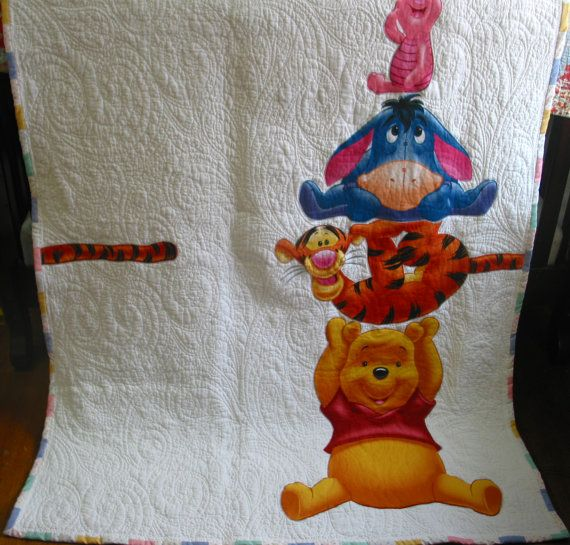 Winnie the Pooh & Friends blanket baby  quilt crib by fairyshred