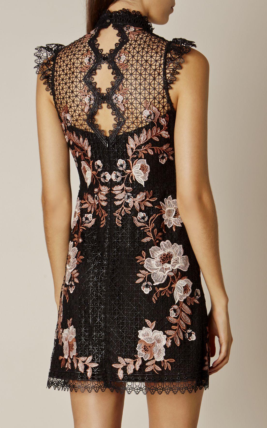 karen millen dresses | Karen Millen, LACE EMBROIDERED DRESS Black ...