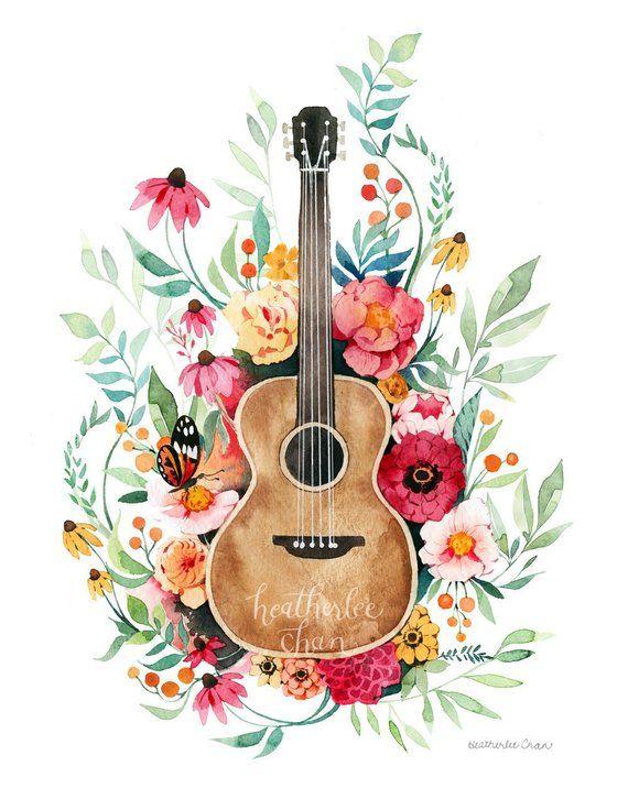 Guitar and Flowers Art - Watercolor