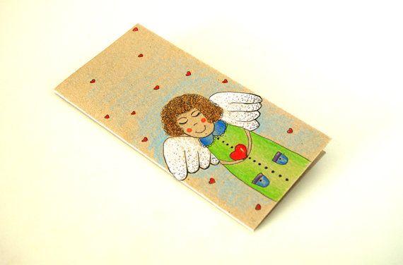 Hand painted greeting card ANGEL I love you card by artbyasta,