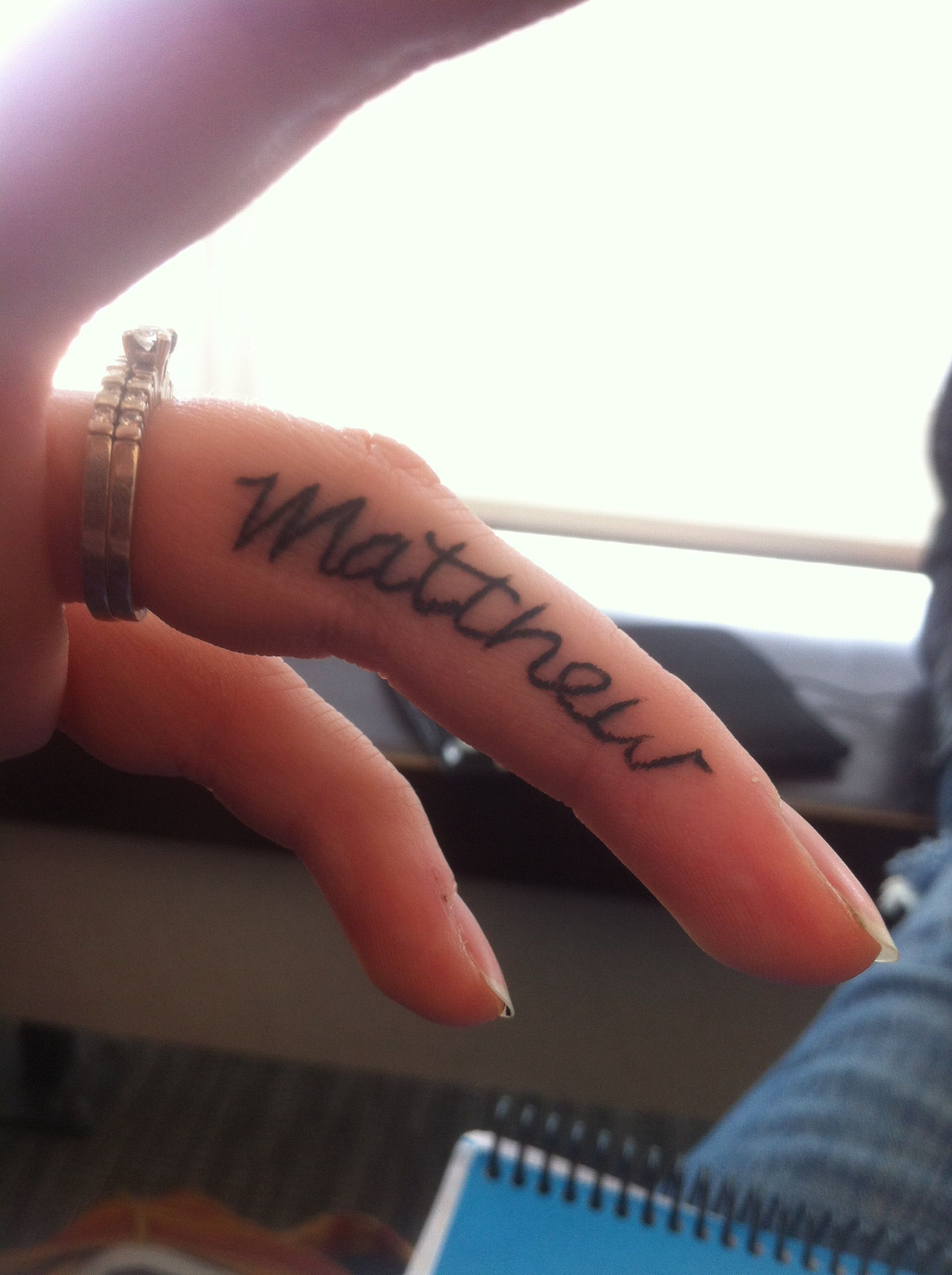 Wedding/couples finger tattoo #tattoo #couplestattoo #fingertattoo #name #husband