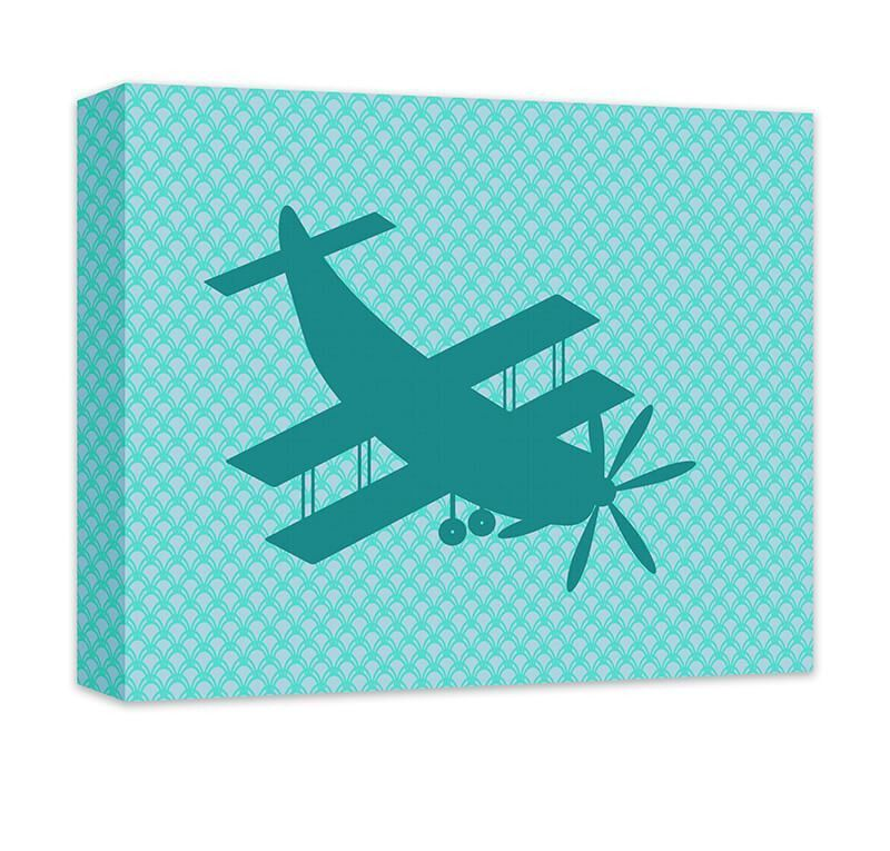 Biplane Aircraft Children's Airplane Canvas Wall Art