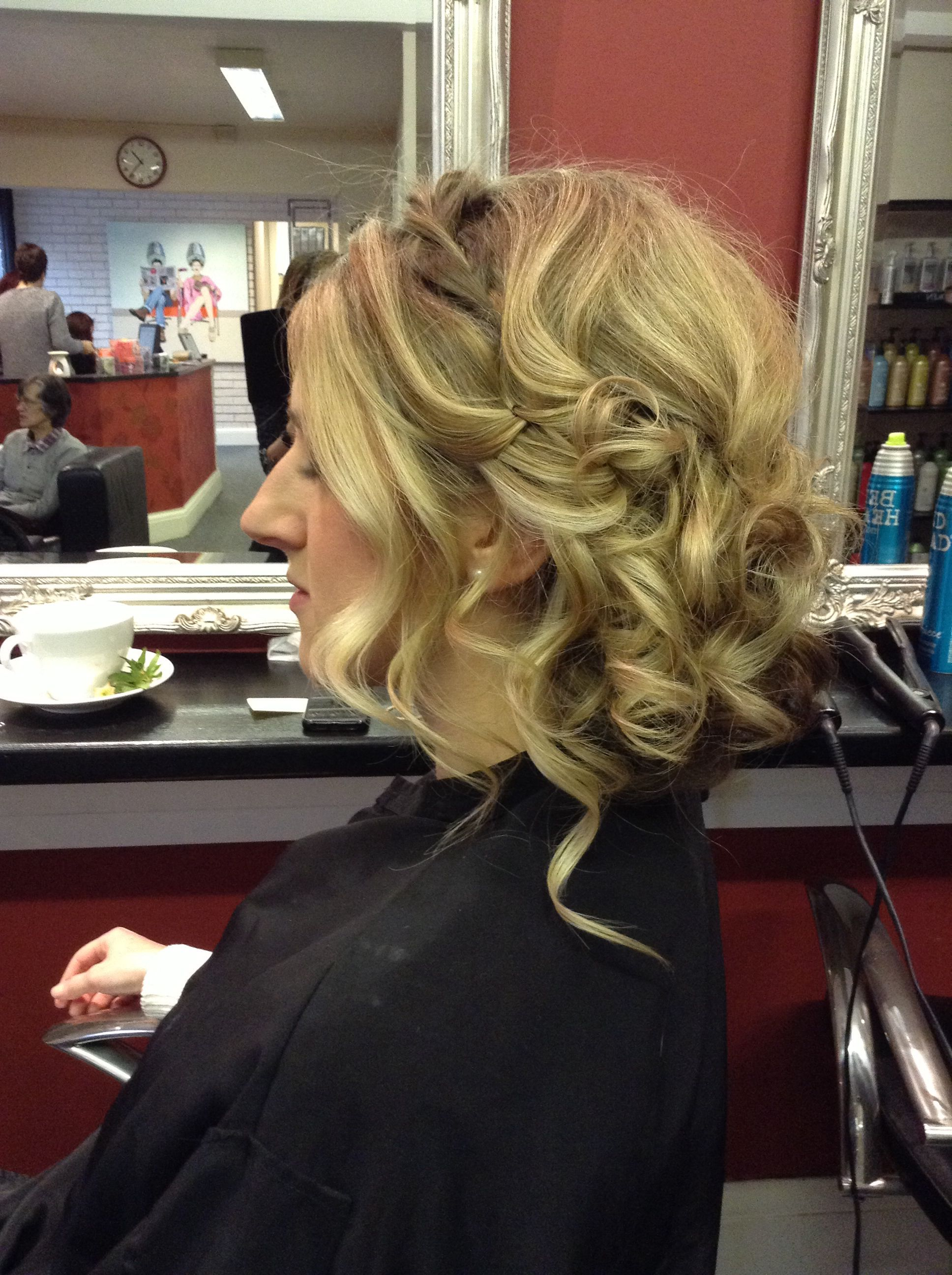 Wavy beachy hair up with twists and top braid -hair by Jac