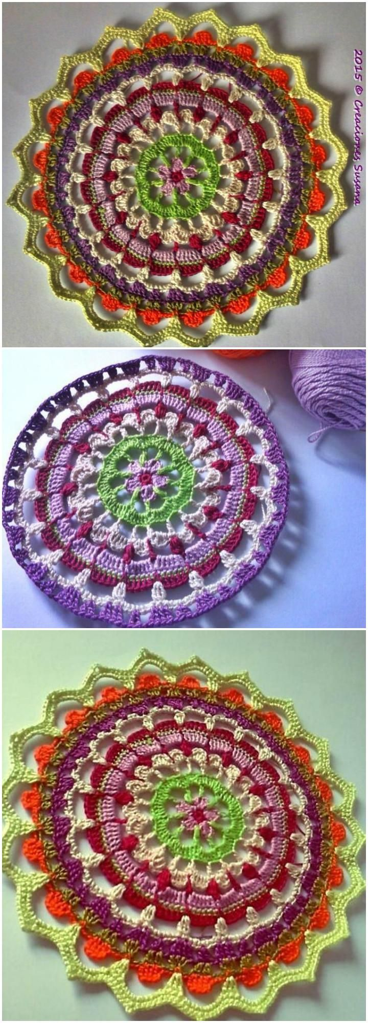 60+ Free Crochet Mandala Patterns - Page 3 of 12 | Mandalas, Mandala ...