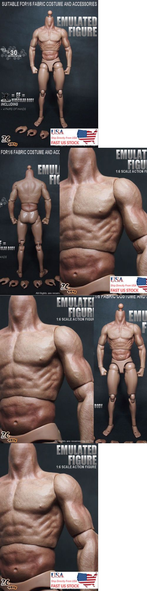 "12/"" ZC Toys Male Action Figure Muscular Body For 1//6 Scale HT Man Head Model"