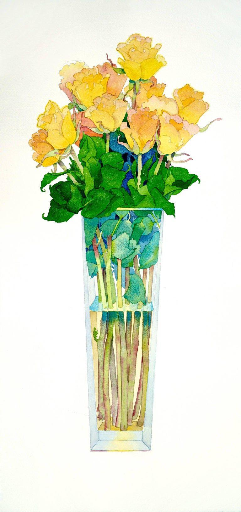 Gary bukovnik yellow roses watercolor yellow roses