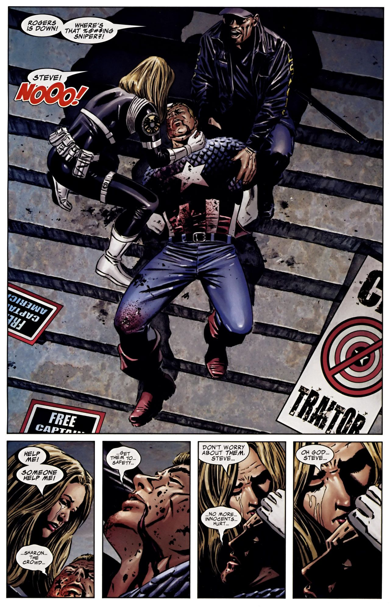 Image result for Captain America Vol. 5 #25 Sharon...the crowd...get them to...safety...no more...innocents...hurt...