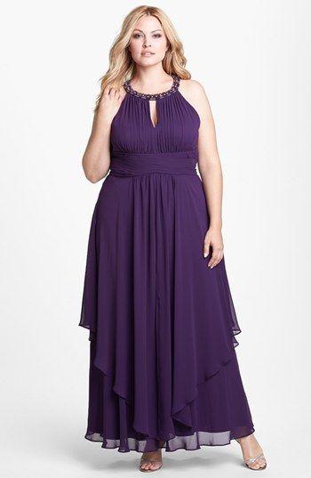 cff55d80237d9 Eliza J Embellished Keyhole Neck Chiffon Dress (Plus Size) available at  #Nordstrom