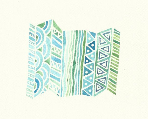 Turquoise, Blue and Green Abstract Pattern Watercolour Painting - Original Modern Art - Unique Home Decor