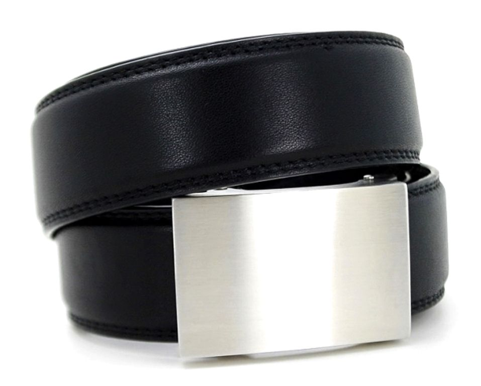 A new kind of belt for men - perfect fit with no holes. Shown; eureka buckle with black belt. Shop @ http://www.KoreEssentials.com