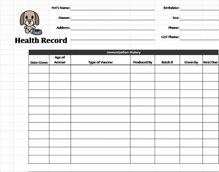 Puppy Records Template  Pet Health Record Template  Pet  Dog