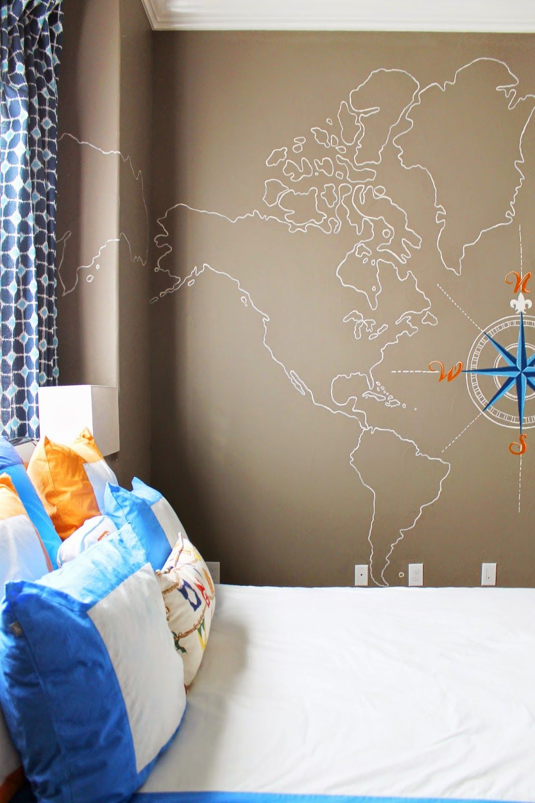 Nautical Boys Room Map Wall Mural And Compass Painted On Wall
