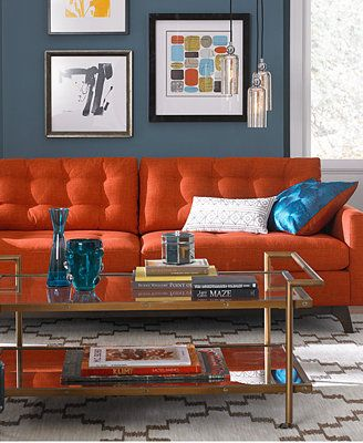Karlie Fabric Sofa Living Room Furniture Collection Living Room Furniture Collections Modern Sofa Living Room Living Room Orange