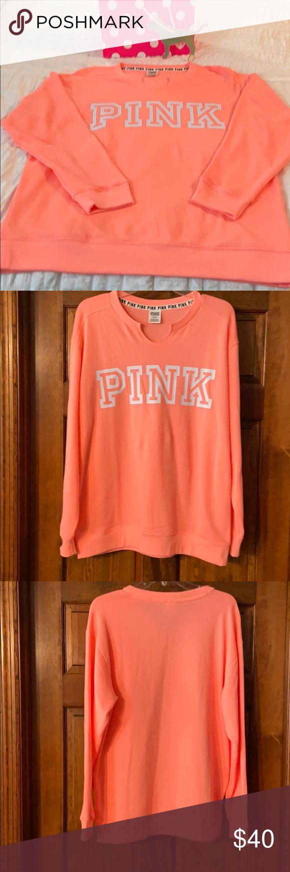 Nwot Pink Peach Campus Crew Neck Sweatshirt Sweatshirts Clothes Design Crew Neck Sweatshirt [ 1740 x 580 Pixel ]