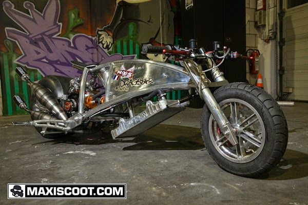 Dragster 2EVIL | Custom Scooter Dragster 2EVIL Custom Scooter by French Custom scooter tuning house MXS Custom. Dragster 2EVIL is powered by twin cylinder 172cc  two stroke engine. Dragster 2EVIL is the coolest Custom scooter i have ever seen.