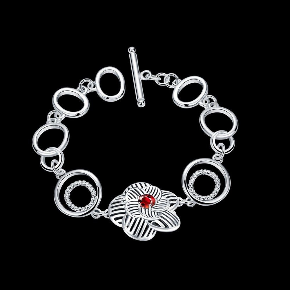 Fashion sterling solid silver jewelry red crystal flower bracelet