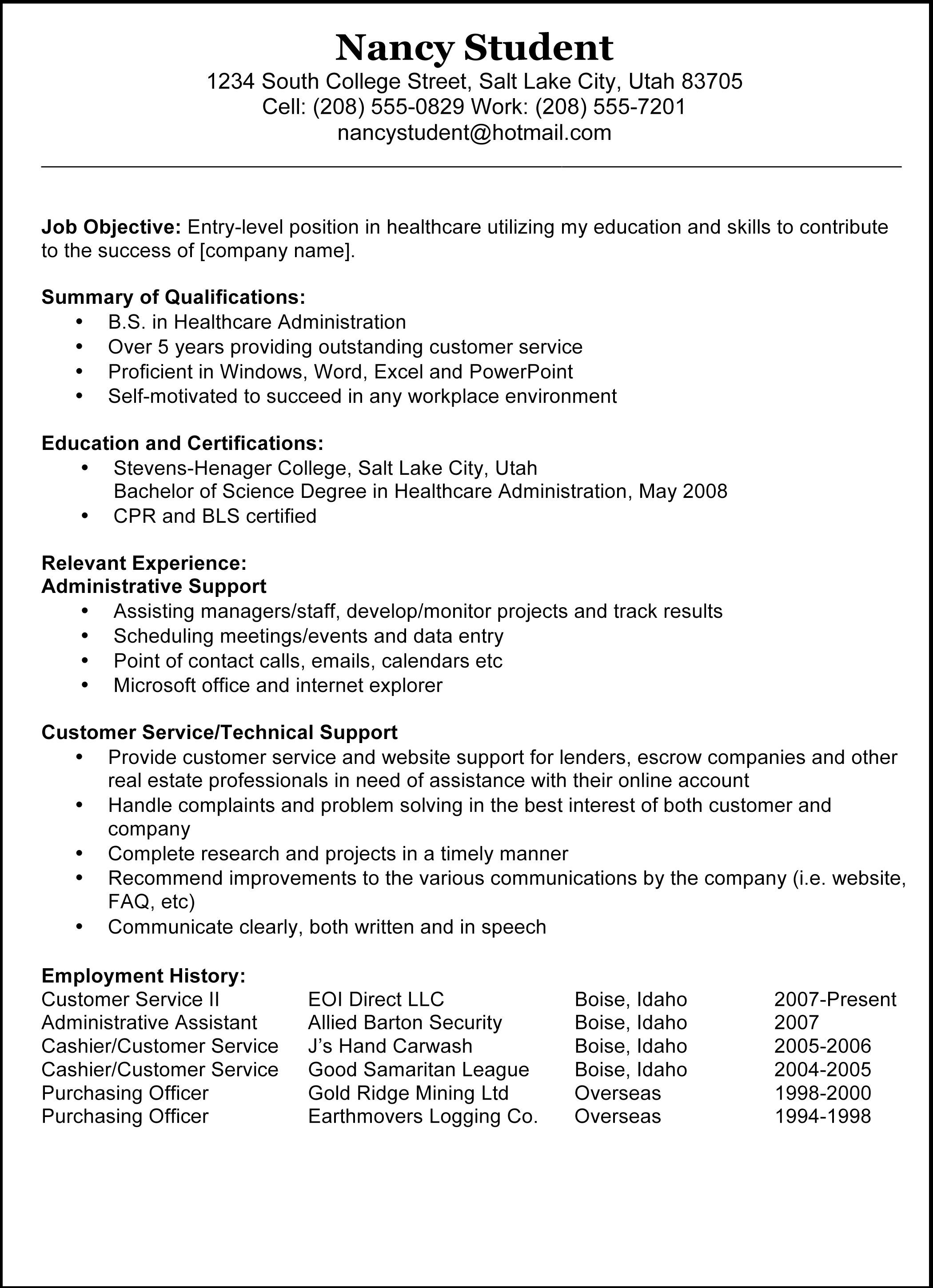 Resume Examples For StudentsSample Resumes Cover Letter