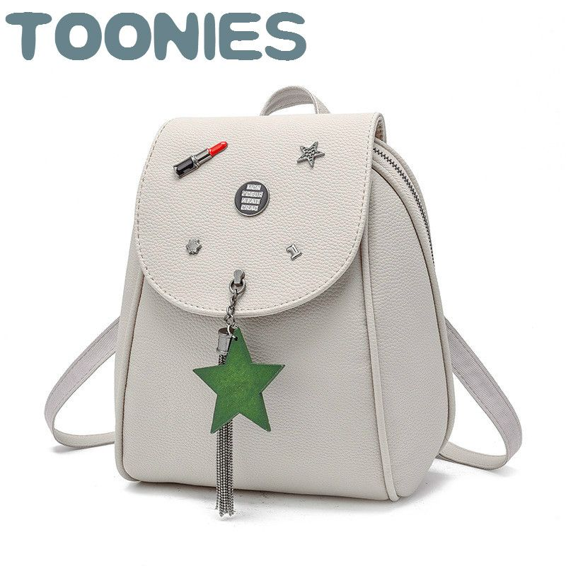 6ec4b97410a1 Sweet Style Tiny Backpack Women PU Leather Backpacks For Teenage Girls  School Bags Fashion Star Tassels Vintage Shoulder Bag