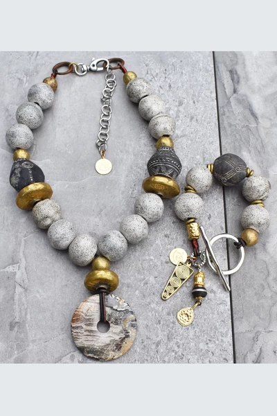 Photo of Rustic Vintage Gray Glass, Black Clay, Gold and Stone Disc Necklace