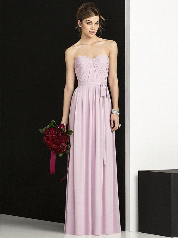 Glamorous A-Line Sleeveless Sweetheart Floor-Length Chiffon Bridesmaid Dress