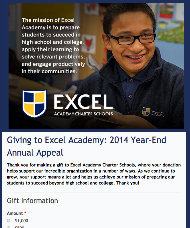 Nice looking donation form courtesy of excel academy charter school also rh pinterest