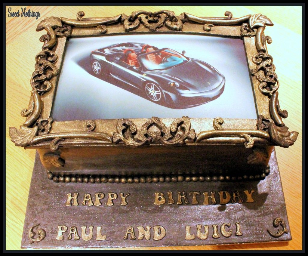 Ferrari photo frame cake all edible! Cake frame