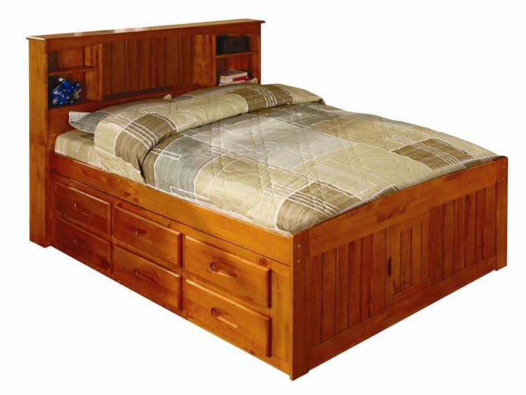 Solid Pine Captains Bed With Storage, Queen Captains Bed With Bookcase Headboard