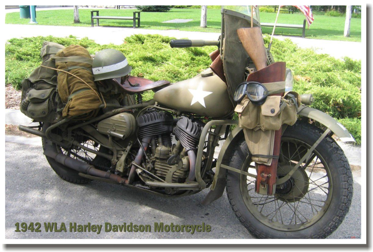 Details About 1942 Wla Harley Davidson Motorcycle Military Army