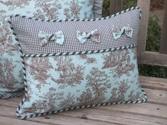 Toile Pillow Cover Deluxe French Country Aqua Turquoise Blue Bows Cool Toile Decorative Pillows