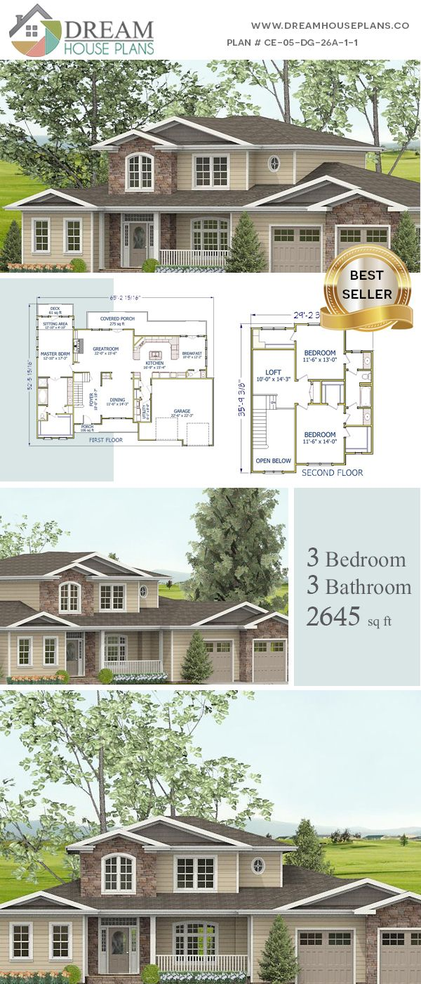 Dream House Plans Popular Colonial 3 Bedroom
