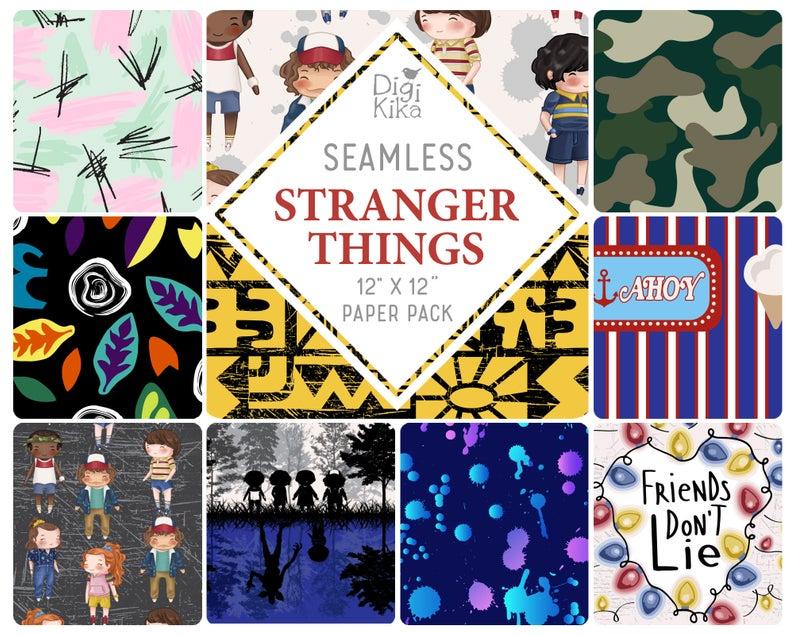 Stranger Things Inspired Seamless Papers Stranger Kids Etsy