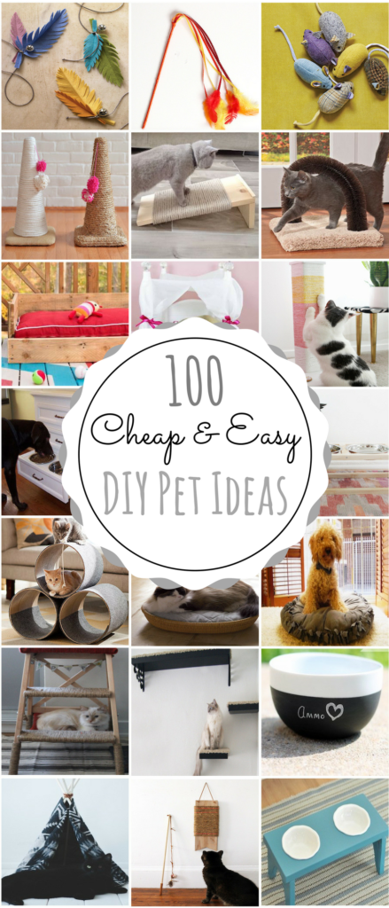 100 Cheap & Easy DIY Pet Projects Diy cat bed