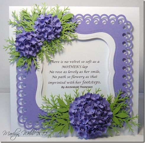 Mother's Day card using hydrangea tutorial from Pinterest.