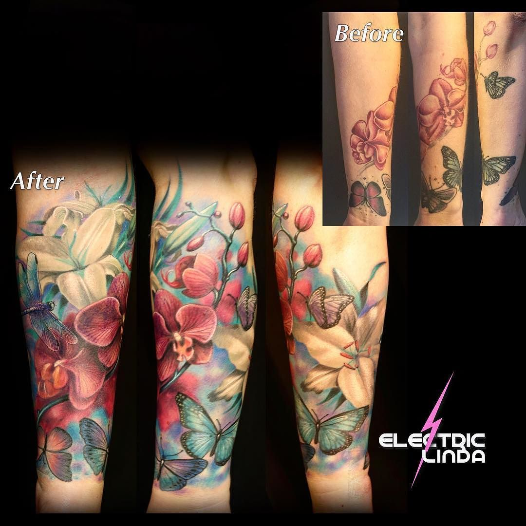 Fixed Some Flowers On This Lower Half Sleeve Flowertattoo Coveruptattoo Fix Coverup Ilovemyjob Bislett Tattoo Oslo Attitude Orchids Lilies Butterfl