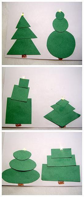 Reviewing Shapes With Christmas Trees Christmas Art Preschool Christmas Christmas Lesson