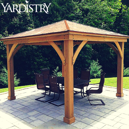 Our Wood Gazebo With Aluminum Roof Is Made Of 100 Premium Cedar Lumber And Is Essential For Any Backyard Backyard Gazebo Gazebo Building A Shed