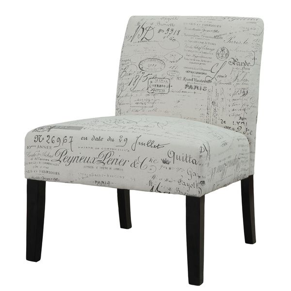 Best Beige Vintage French Script Contemporary Armless Accent 400 x 300