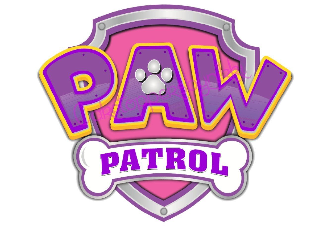Cake Toppers PAW Patrol Cupcake Toppers Edible Image Pink Logo