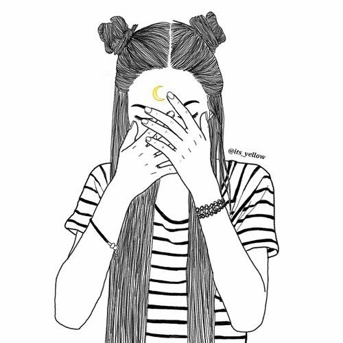 girl, moon, outline, outlines, tumblr