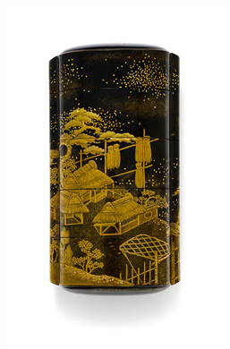 A FOUR-CASE LACQUER INRO SIGNED KANSHOSAI, EDO PERIOD (19TH CENTURY) Decorated in gold and black hiramaki-e, takamaki-e, togidashi and kirikane with barns and trees, interior with nashiji 4 1/8 in. (10.5 cm) long