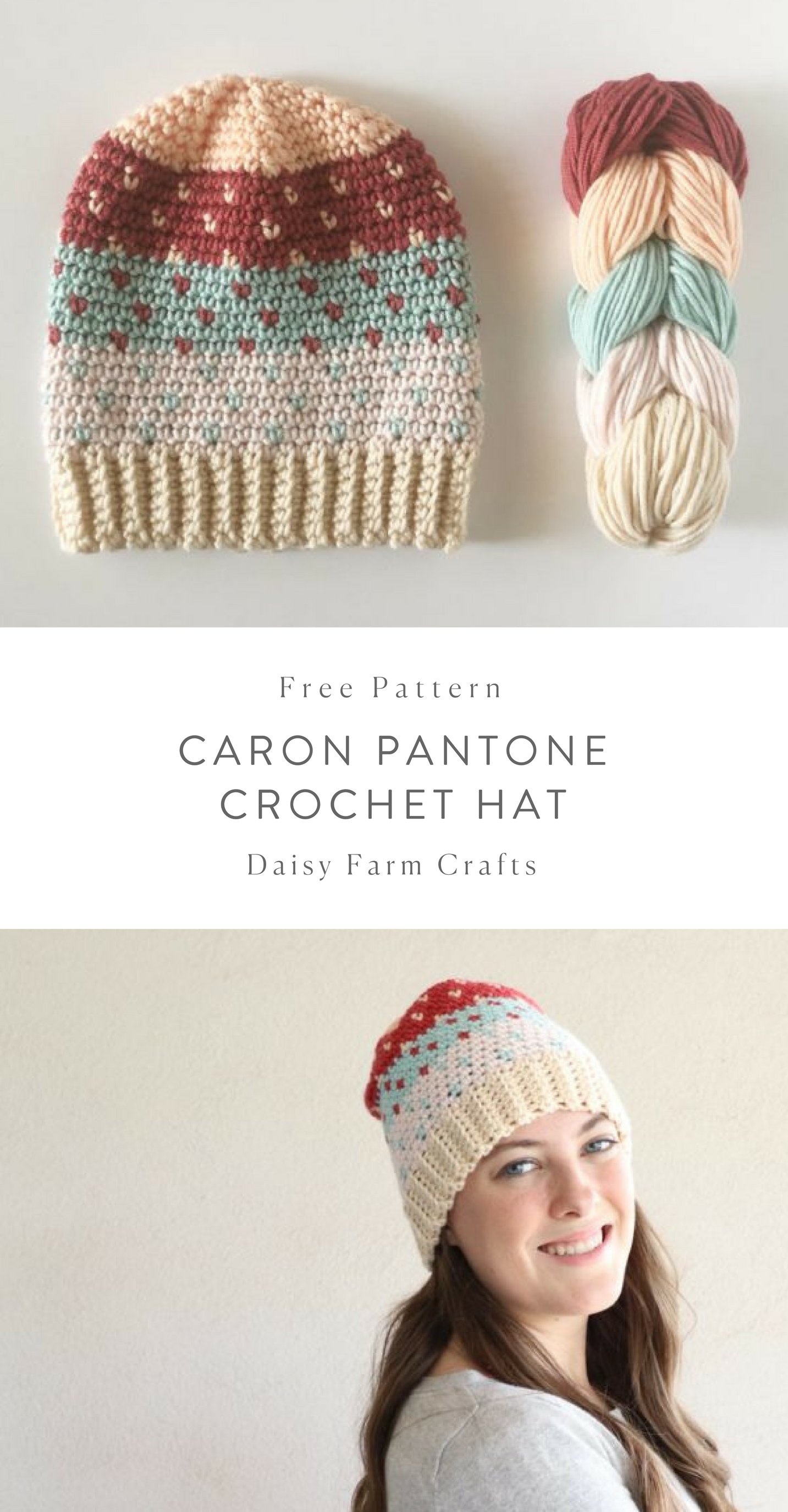 Free Pattern - Caron Pantone Crochet Hat #crochet   Crocheted adult ...
