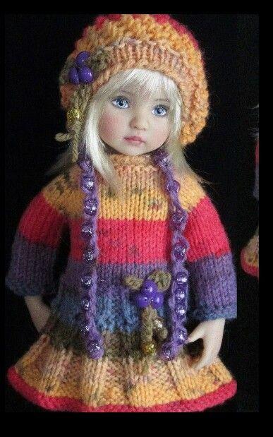Handknit dress set made for Effner little darling dolls
