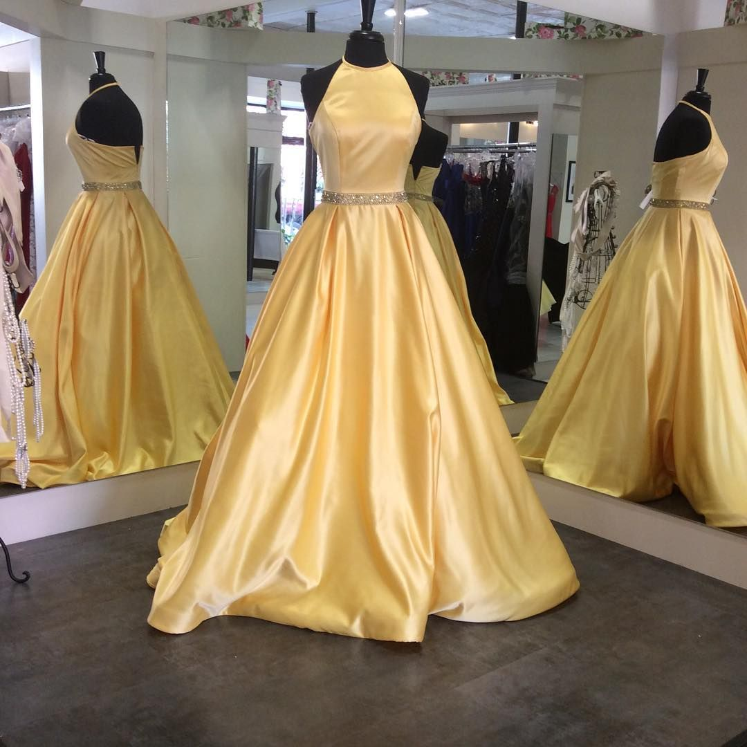 Simple aline hater yellow long prom dress graduation dress long