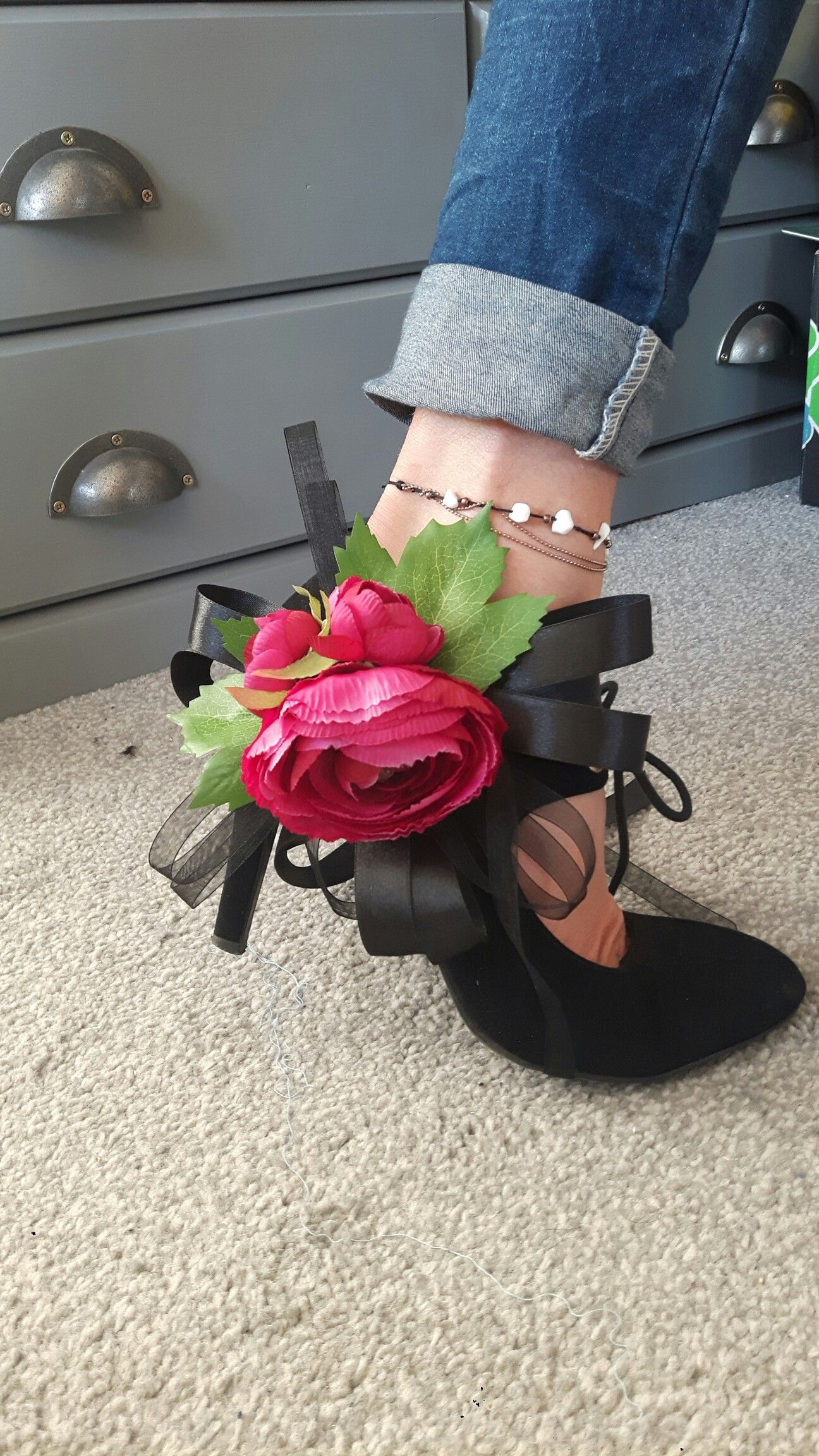 Silk Flower shoe decorations. Upcycle. customise shoes  Flower