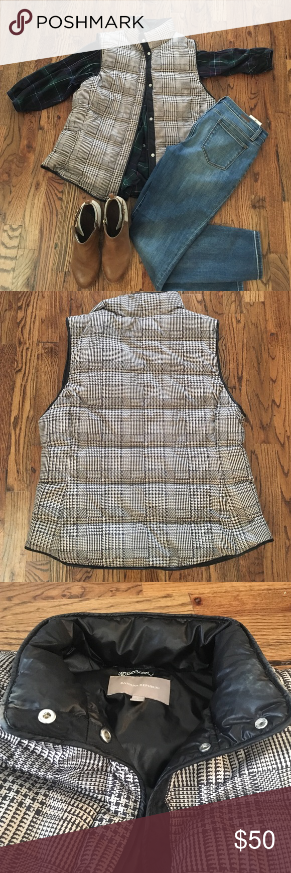 Houndstooth Puffer Vest. Banana Republic Size L Super trendy Houndstooth Puffer Vest from Banana Republic! Some makeup stains inside the neckline (shown) that aren't visible when worn unless you flip the collar down. Over this is still in really great shape and has a lot of wear left. Only selling because I purchased the jcrew herringbone for this season. Banana Republic Jackets & Coats Vests